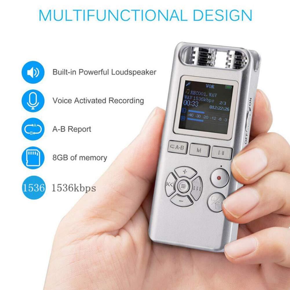 Mrrong Grabadora, Grabadora Micro Reducción De Ruido Remoto De 8GB HD Smart Professional Mini Recorder Conferencia Conferencia Entrevista.