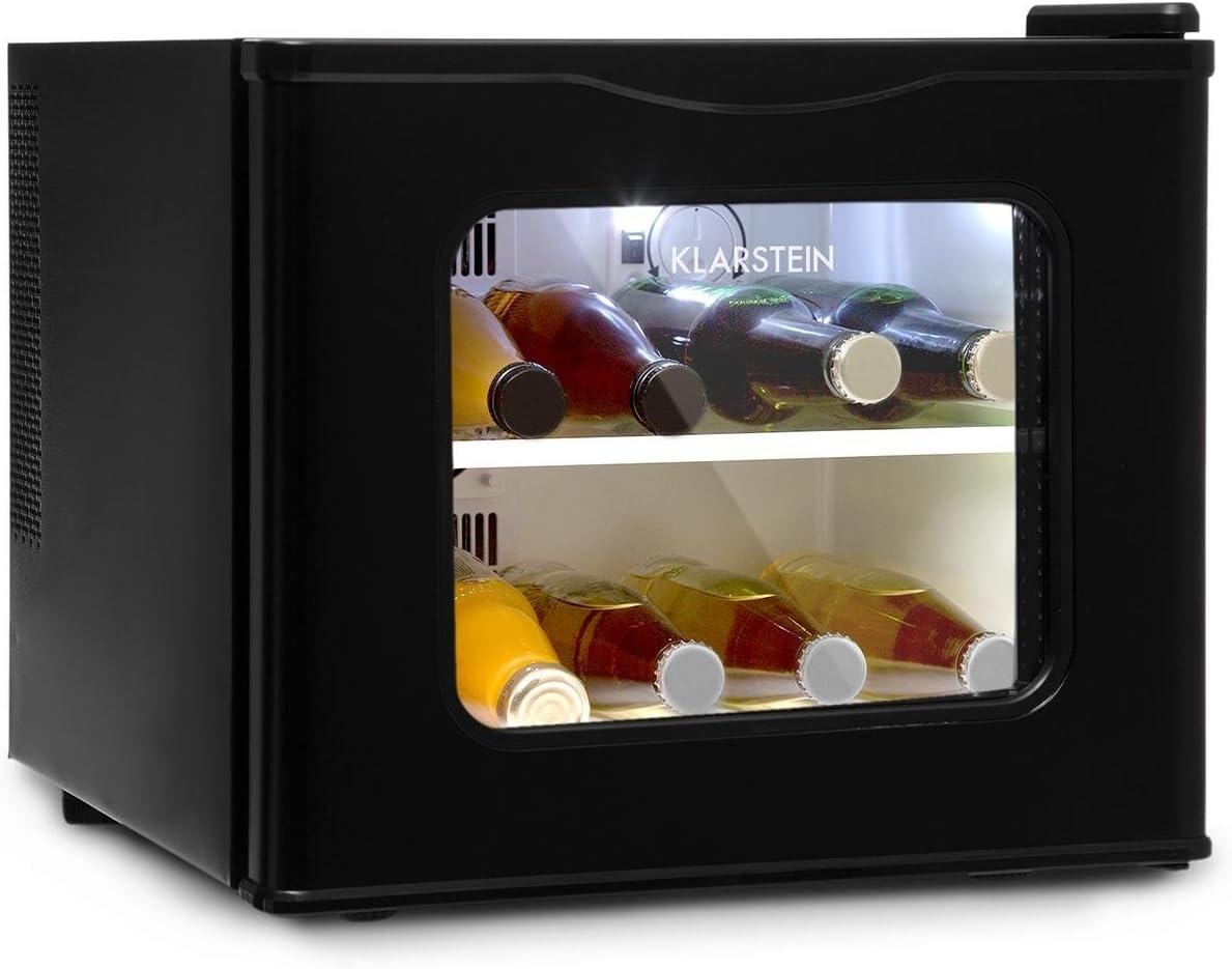 Klarstein Winehouse Minibar - Vinoteca, Nevera de bebidas y tentempiés, 17L, LED, Silenciosa, Temperatura de 8 a 18 °C, Bajo consumo, Doble cristal, Acero inox, negro