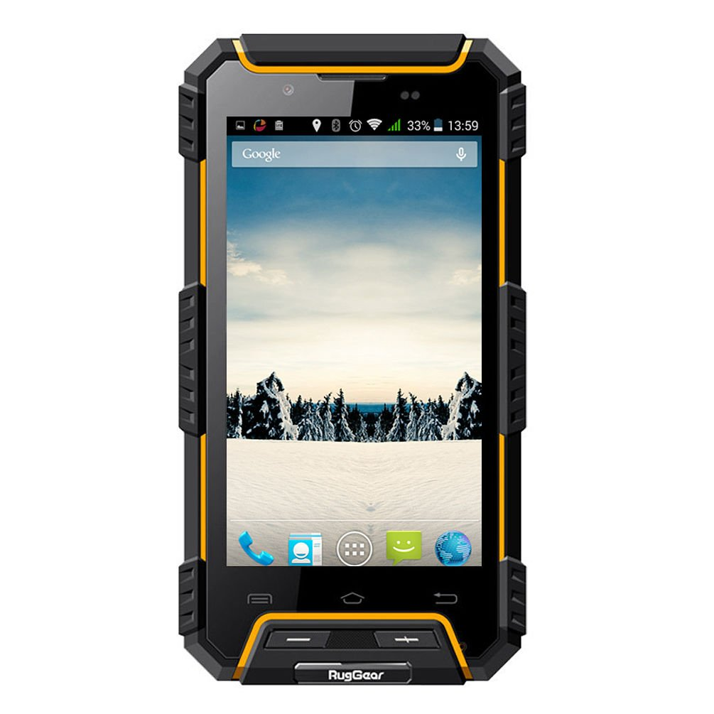 RugGear® RG702 rugged Unlocked waterproof smartphones - RugGear Apex - IP68 Waterproof, dust proof and shock proof GPS Dual SIM Android waterproof smart cell phone (Yellow)