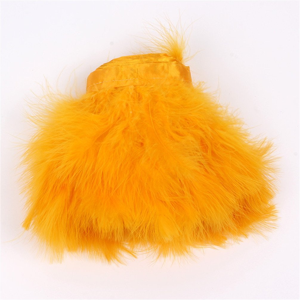 AWAYTR Turkey Marabou Hackle Fluffy Feather Fringe Trim Craft 6-8 in Width Pack of 2 Yards Red