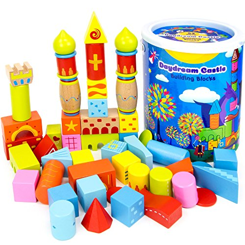 - 52-piece Daydream Castle Premium Wood Building Blocks with Fun Patterns and Unique Shapes by Imagination Generation