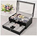 WatchBoxBlackLeather Watch Display Box 12 Slot Watch Organizer LockableJewelryCasew/ GlassTop Drawer, Valentines Day Gifts for Men Women