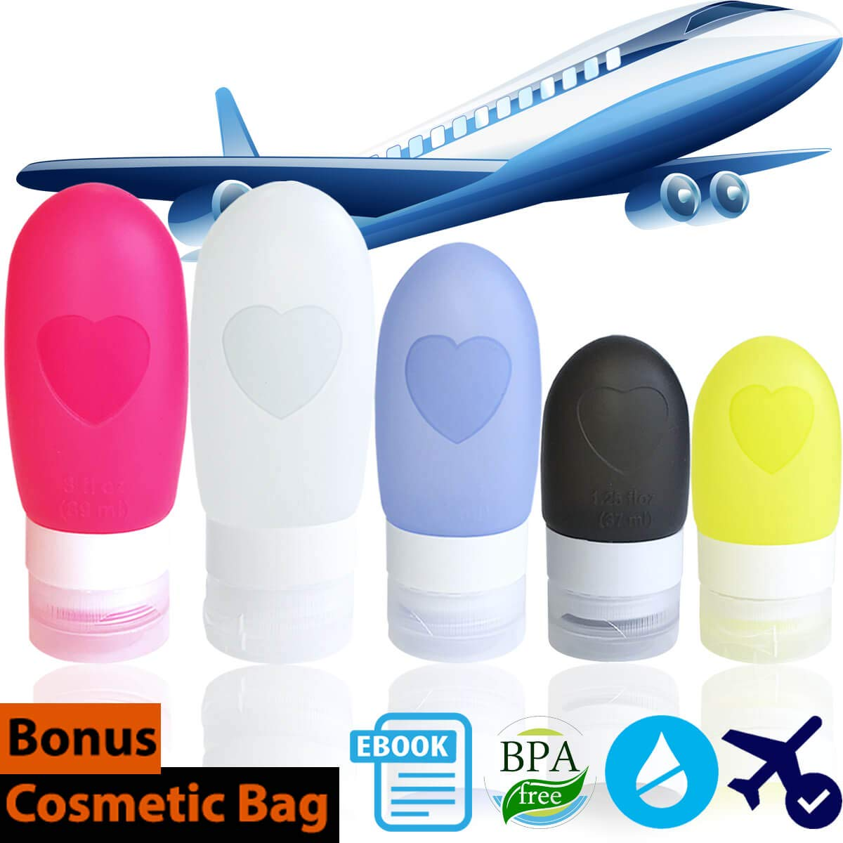 Leakproof Travel Bottles - Silicone Travel Tube Sets Pack of 5 | 3 Sizes Squeezable Refillable Portable Containers for Liquid Shampoo Conditioner Lotion Soap Toiletries TSA Approved Free Zipper Bags