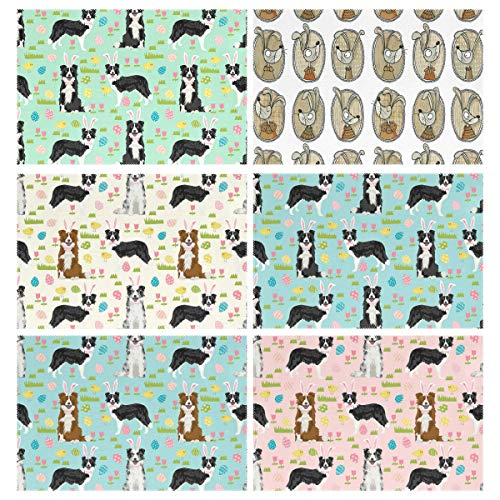 (YOULUCK-7 Placemats Set of 6, Border Collie Spring Fabric Easter Mixed Coats Egg Brown Bunnies - Hunt Pastel Dogs Blue Dining Table Mats for Home Kitchen Office)