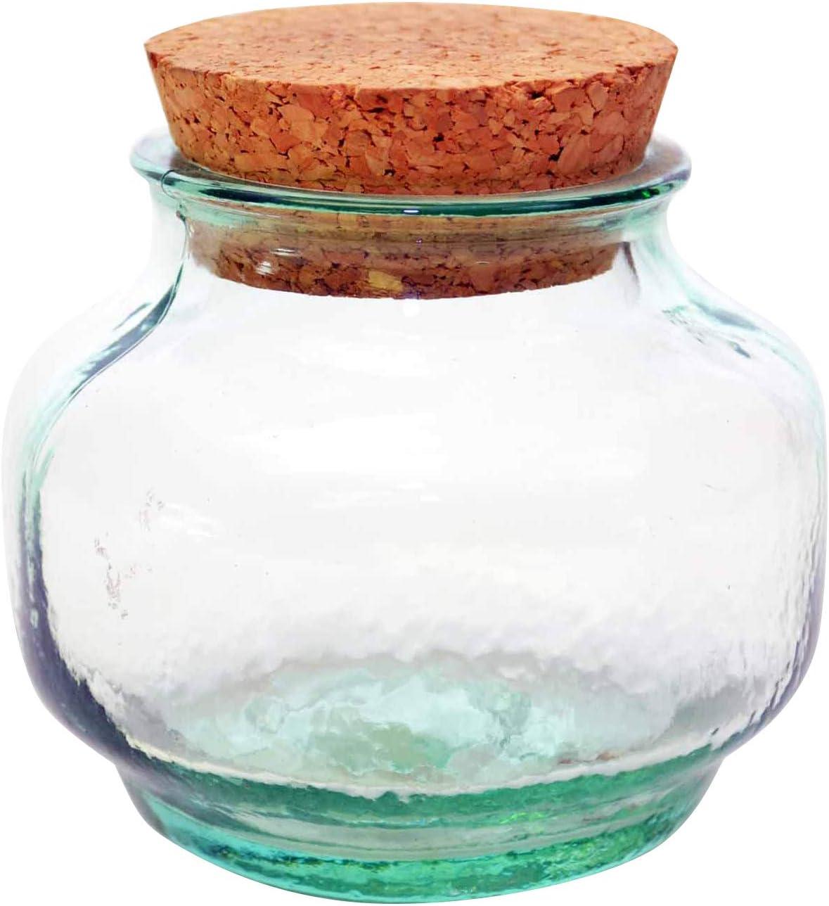 3.5 D. SPANISH GREEN RECYCLED GLASS CAPRI SHAPE SPICE JAR WITH CORK 10 OZ Laredo Import SET OF 6 3 H