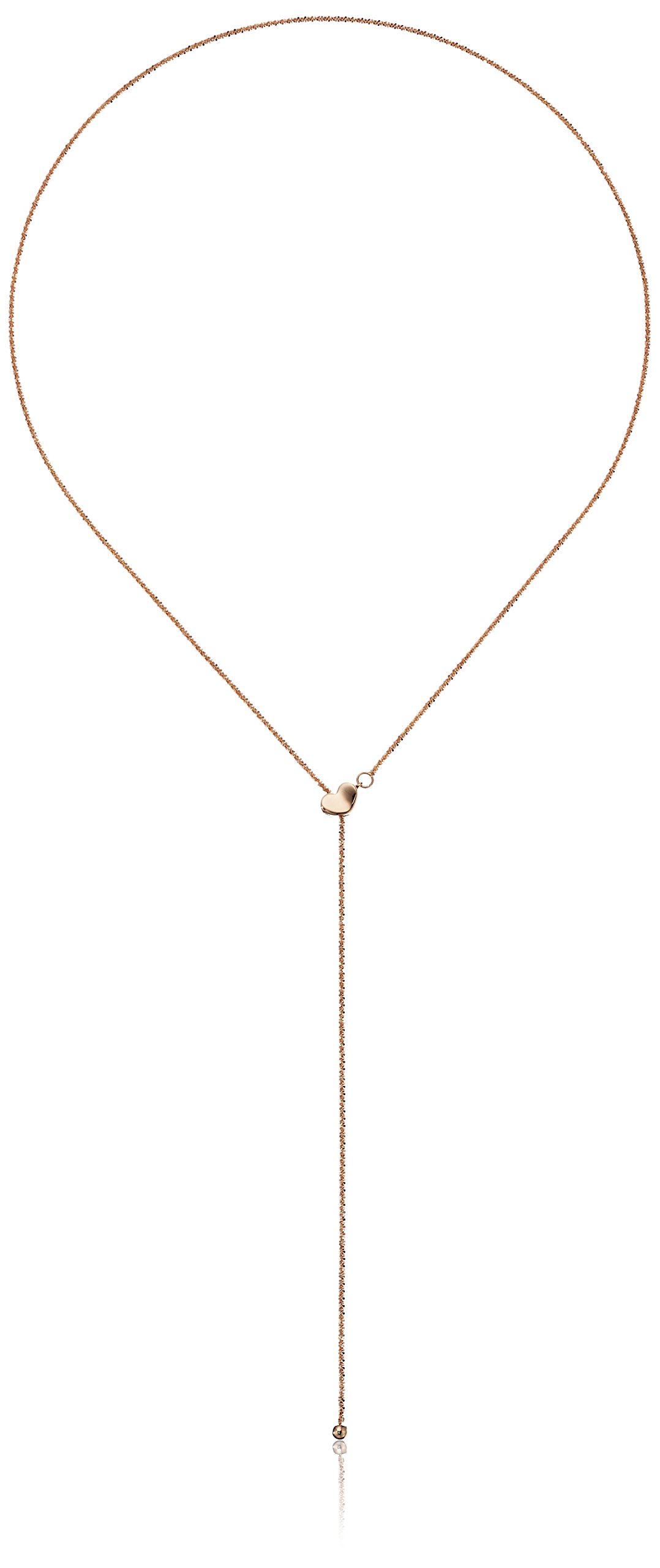 14k Rose Gold Heart Adjustable Lariat Sparkle Chain Y-Shaped Necklace, 22''