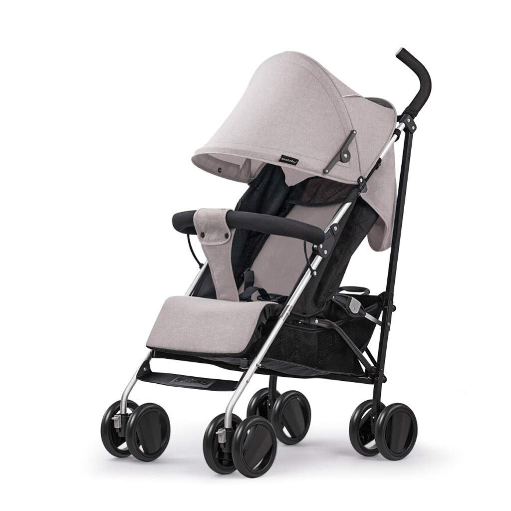 RJJX Home Baby Stroller Open Design Stroller Ultra Light Portable Can Sit Reclining Folding Stroller with Large Storage Basket 4 Colors Optional (Color : Gray) by RJJX Home