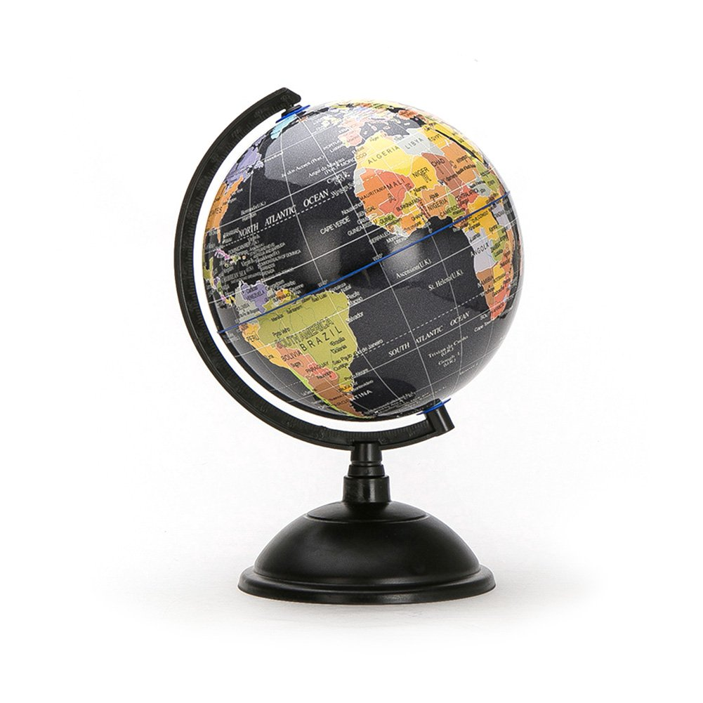 HaloVa World Globe, Desktop 8 inch Spinning Globe with Stand for Kids Students Teachers Geographic Scout Bedroom Decor Educational Gift, Black