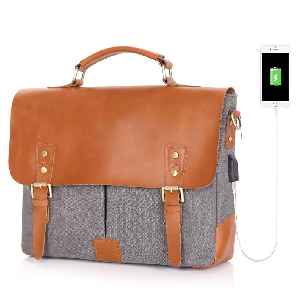Men Messenger Bag with USB Charging Port Vintage Genuine Leather Canvas Men's Briefcase for men Travel Crossbody Buffalo leather Bag (Grey)