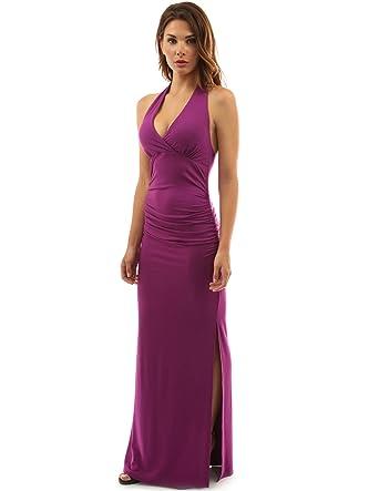 8fb8c3da65 Amazon.com  PattyBoutik Women s Halter Empire Waist Ruched Side Slit Maxi  Dress  Clothing