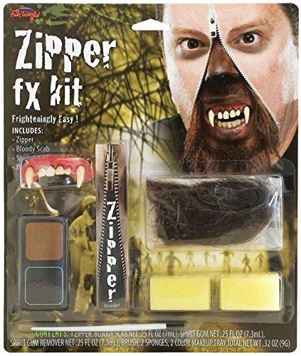 Deluxe Horror Halloween Makeup Werewolf FX Zipper Kit Accessory by The Dragons Den]()