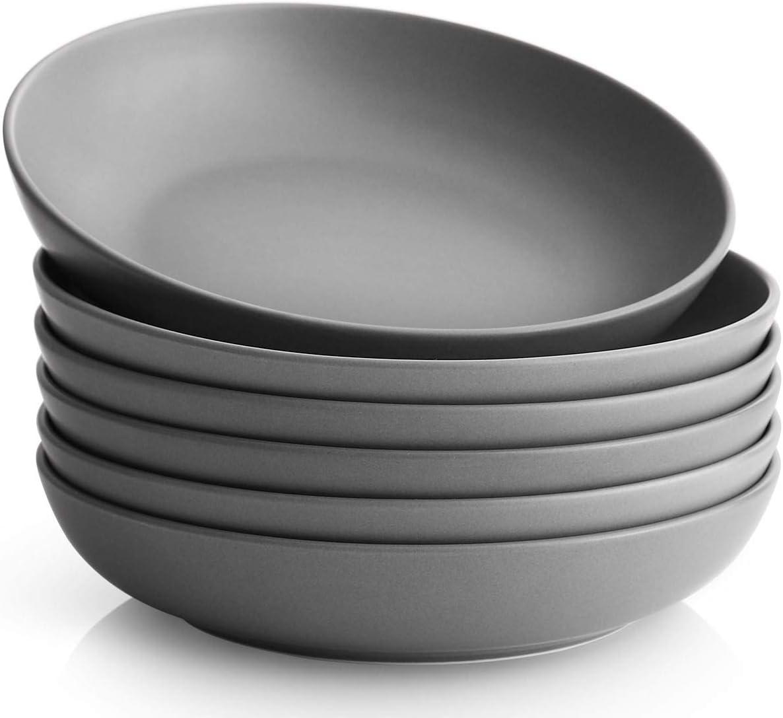 Y YHY Pasta Bowls Set of 6, Salad Serving Bowls Large, Ceramic Soup Bowls 30oz, Porcelain Pasta Bowls and Plates Set, Grey Matte