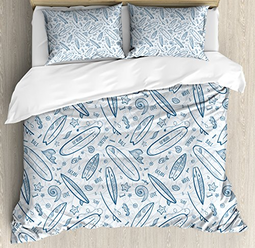 Ambesonne Surfboard Duvet Cover Set Queen Size, Doodle Surfing Boards Waves and Starfishes Hawaiian Summer, Decorative 3 Piece Bedding Set with 2 Pillow Shams, Petrol Blue ()