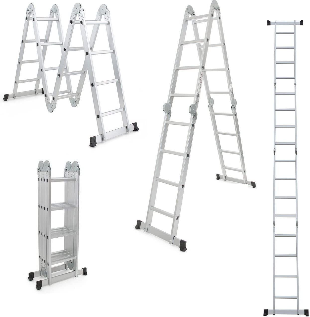 Keraiz STL-274-4.7M - Escalera de extensión plegable (aluminio, 4,75 m, 4 x 4, con plataforma), color plateado: Amazon.es: Bricolaje y herramientas