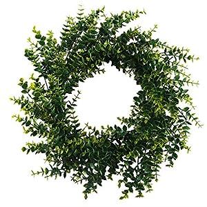 "GTIDEA 18"" Front Door Wreath Artificial Eucalyptus with Dried Grape Vine Base Fake Greenery Garland for Home Garden Office Wedding Decor 2"