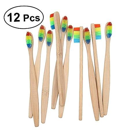 rosenice 12 unidades bambú cepillo de dientes mano Cepillos de Dientes para adultos y niños