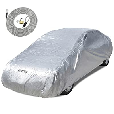 """Motor Trend All Season WeatherWear 1-Poly Layer Snow proof, Water Resistant Car Cover Size XL1 - Fits up to 210"""" - CC-544+LOCK , Silver: Automotive"""
