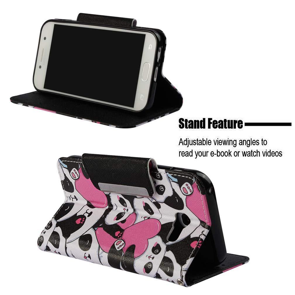 Galaxy A5 2017/A520 Case,3D Printing Folio Flip PU Leather Wallet Full Dust Proof Anti-Scratch Inner Soft Bumper Wrist Strap Kickstand Case for Girls ...