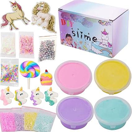 SWZY Unicorn Slime Set 4 Colores Fluffy Slime, Unicorn Charms, Foam Balls, Glitter Powder, Candy Bead para DIY DIY Stress Relief Toys para niños y Adultos, 20 Piezas: Amazon.es: Juguetes y juegos