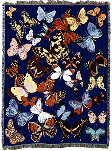 Pure Country Weavers - Butterfly Woven Tapestry Throw Blanket Cotton with Fringe Cotton USA 72x54 ()