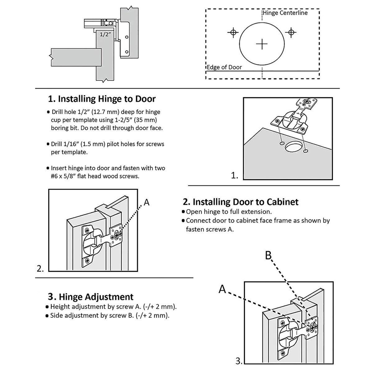 AmazonBasics Soft Close Hinge, 1/2'' Overlay, Nickel Plated, 50-Pack (Renewed) by AmazonBasics (Image #3)