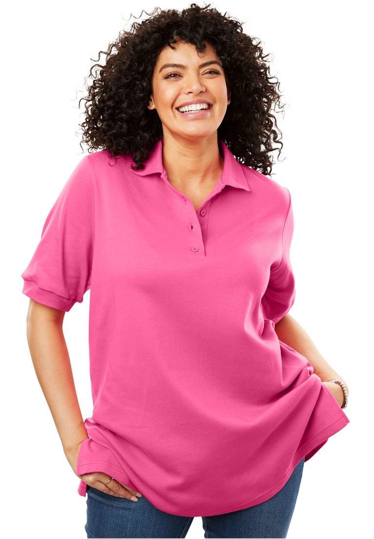 Women's Plus Size Easy Fit Polo Pink Geranium,3X