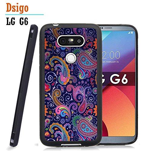 G6 Case, LG G6 Black Case, Dsigo TPU Black Full Cover Protective Case for New LG G6 - Paisley Retro Vintage - New Paisley Black