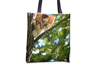 6295b3b35 Gato, gatito, árbol, verde, verano, estampado animal, populares totes,  populares bolsas de bolsos para mujer, bolsa ...