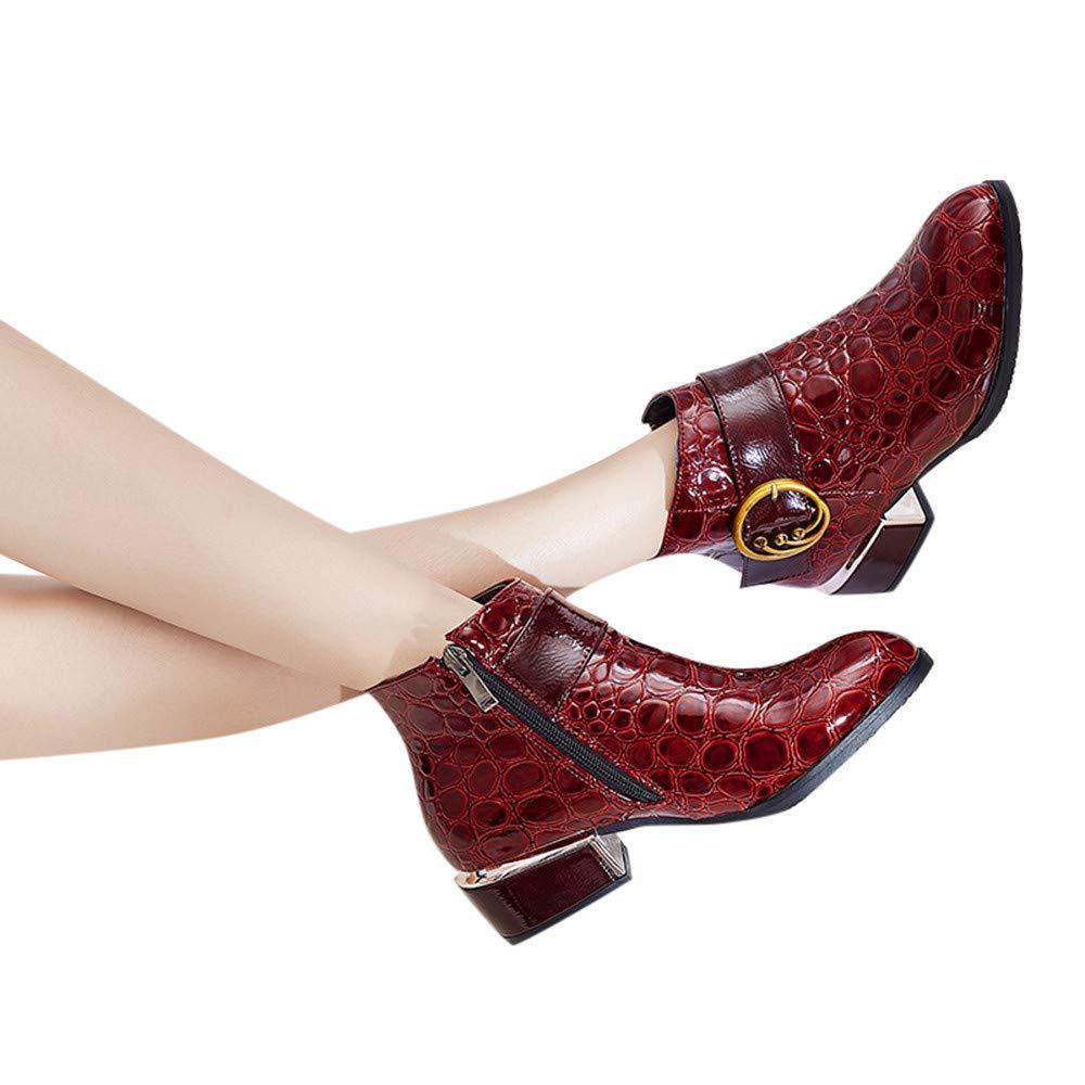 Cremallera Lateral Tacones Altos Bota Martin Zapatos con diseño de cocodrilo Botines LILICAT® Botas de cocodrilo Botas de tacón bajo para Mujer: Amazon.es: ...