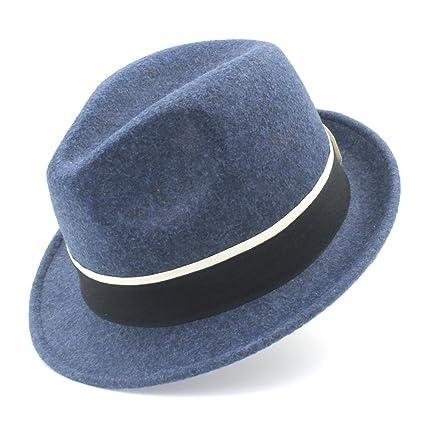 Moda Donna Uomo Lana Gangster Trilby Fedora Cappello Per Signora Elegante  Gentiluomo Trilby Feltro Chiesa di ecee0f57105f