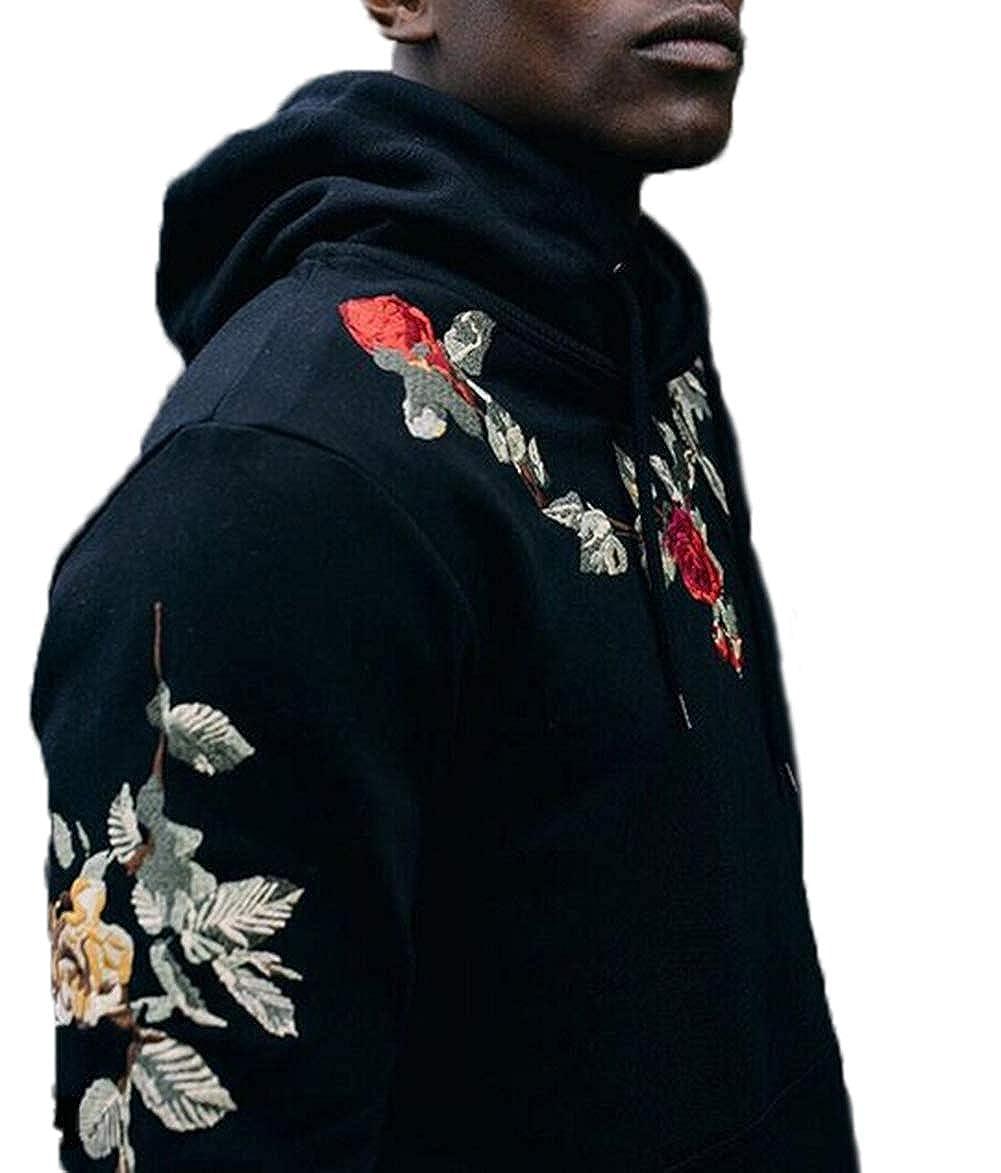 XARAZA Mens Long Sleeve Pullover Fleece Hooded Sweatshirt with Embroidery Rose