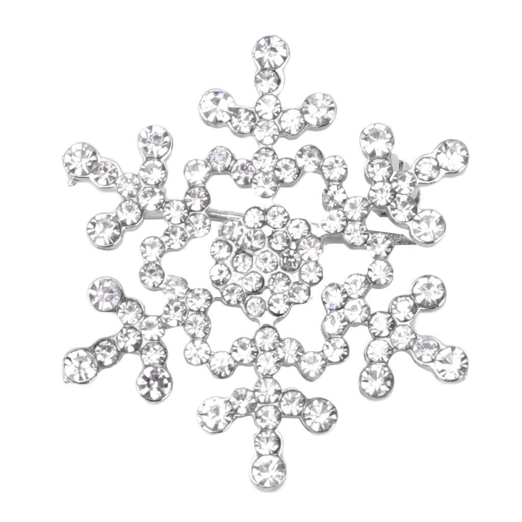 Hukai Christmas Jewelry Snowflake Brooch Pins Sparkling Rhinestone Wedding Bridal Gift (Silver)