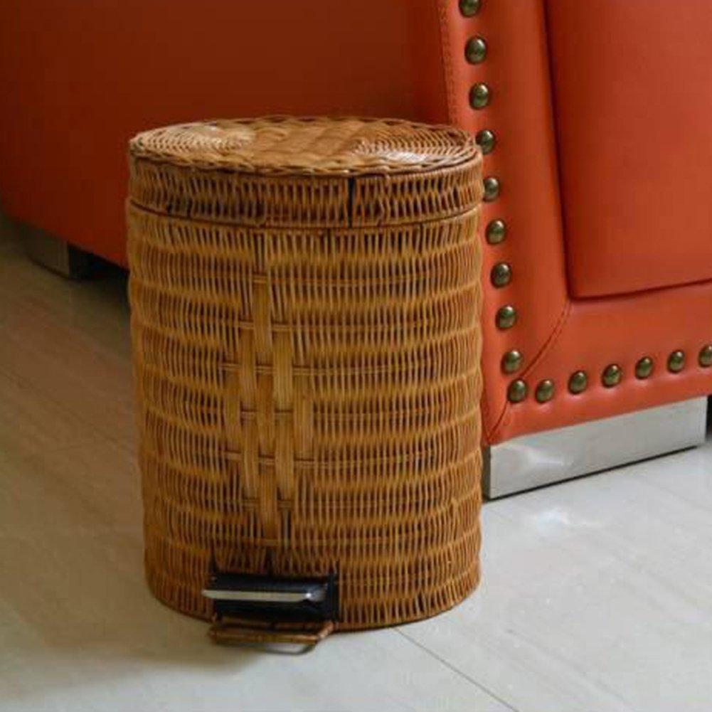 DW&HX Pedal waste bin, Waste bucket with lid rattan & Wicker waste bins for kitchens bedroom office-A YAMEILJT