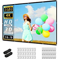 Projector Screen 120 inch, Taotique 4K Movie Projector Screen 16:9 HD Foldable and Portable Anti-Crease Indoor Outdoor…