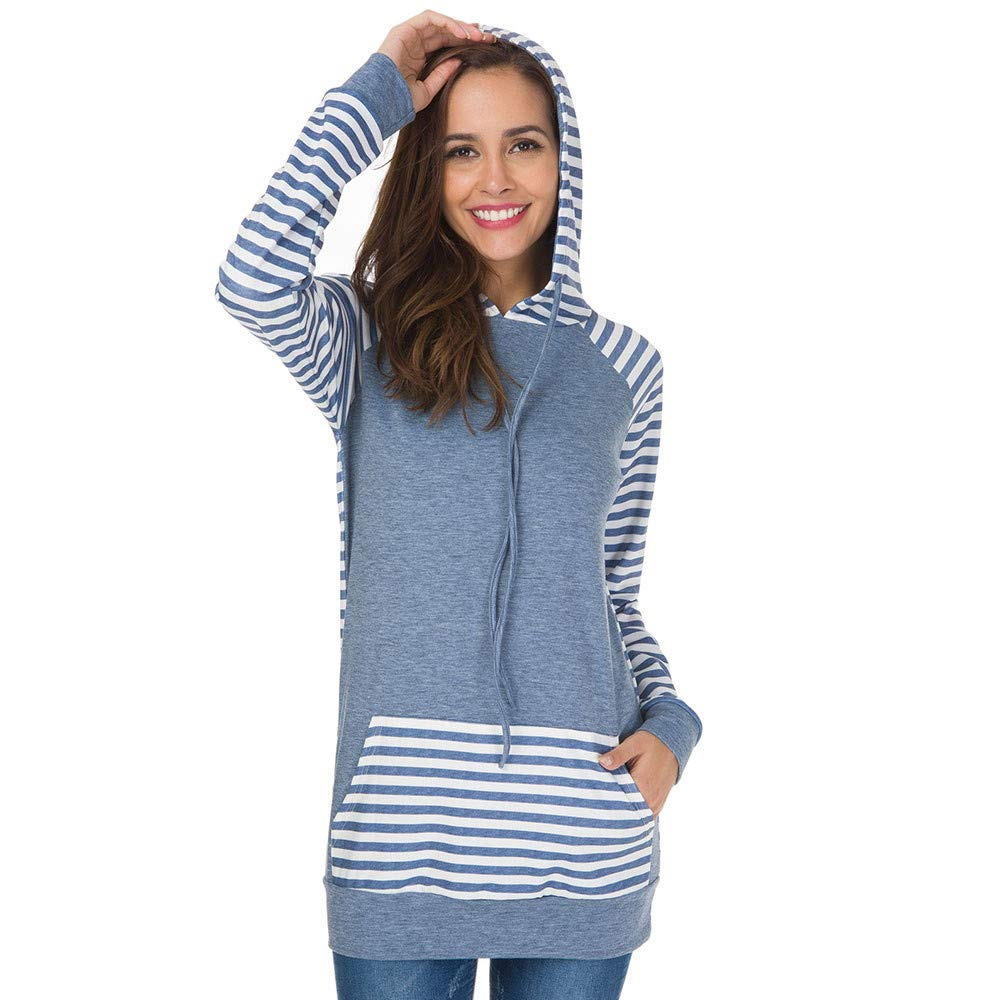 Wonen's Hoodies Tunic,✔ Hypothesis_X ☎ Stripe Round Neck Long Sleeve Pullover Hoodies with Kangaroo Pocket Black by ✔ Hypothesis_X ☎ Top