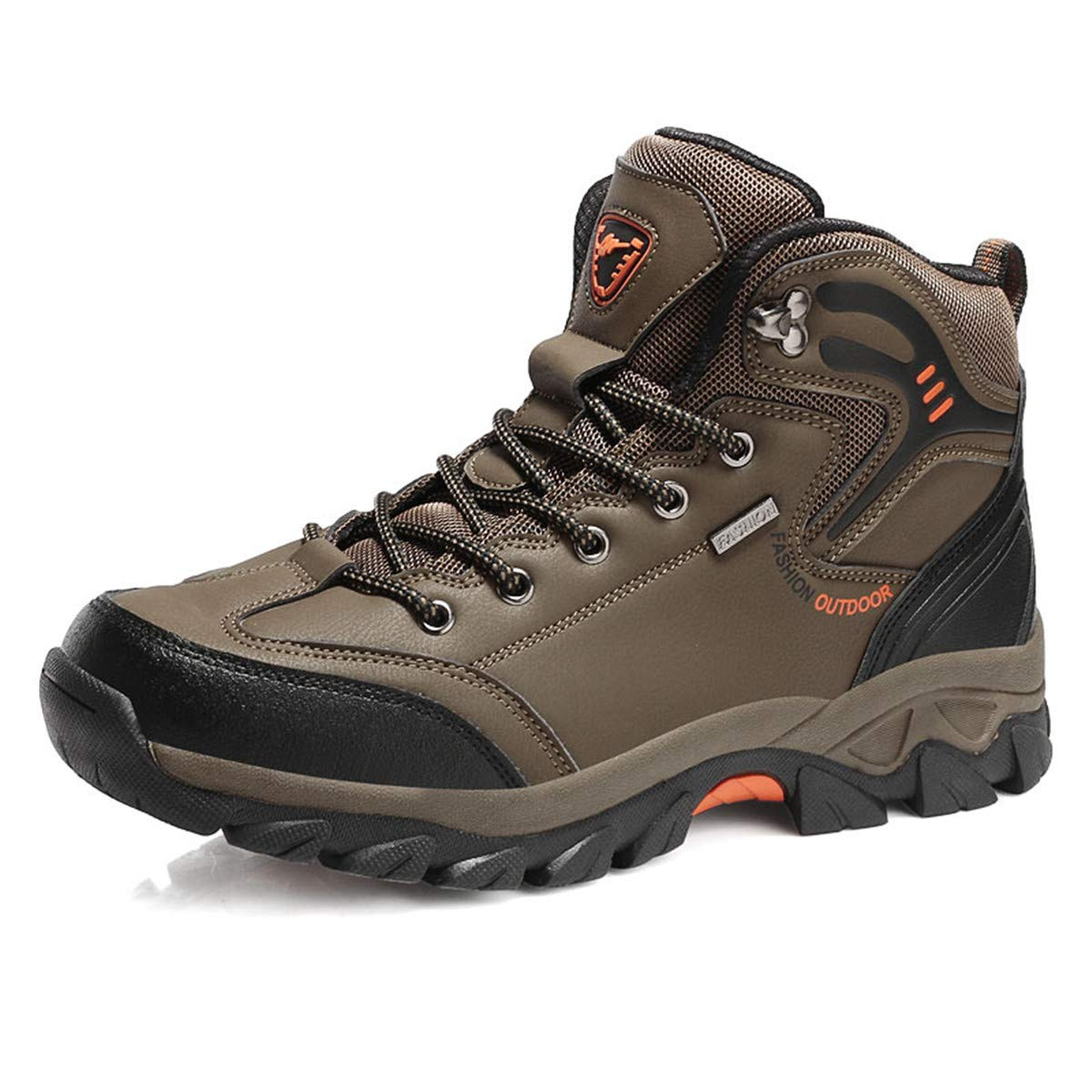 Anzhuangh Mens Leather Fashion Sneakers Lace Up Outdoor Mountain Waterproof Men Shoes
