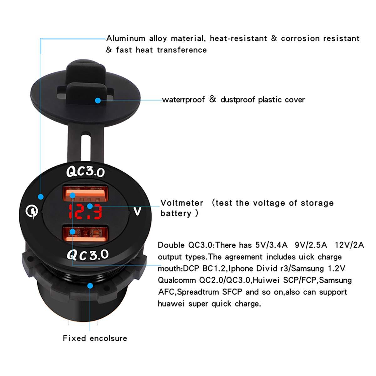 GOFORJUMP Chargeur Rapide de Voiture Coque Noire Lumi/ère Verte QC3.0 Dual 2 Port USB Prise de Chargeur de Voiture de Moto pour t/él/éphone Portable Double Chargeur USB Chargeur 2 Ports