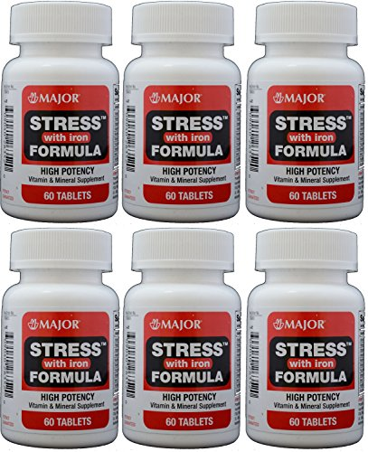 Stress Tab with Iron High Potency Stress Formula with B-Vitamins, C+E, plus Antioxidants and Iron For Immune Support 60 Tablets per Bottle Pack of 6 Total 360 Tablets