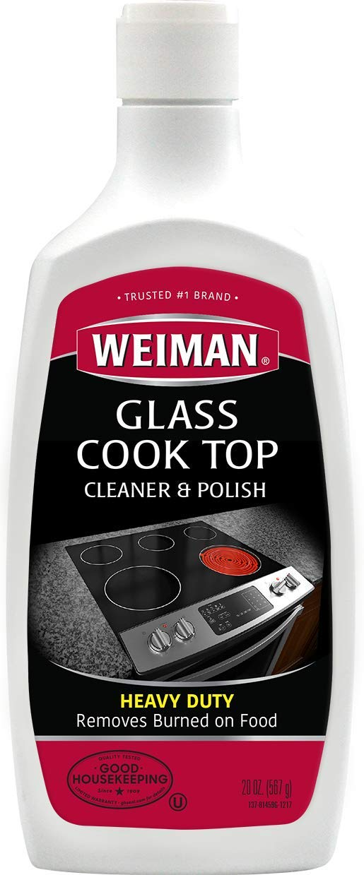 Weiman Glass Cooktop Cleaner & Polish - Heavy Duty, No Scratch, Glass-Ceramic Safe, Non-Abrasive - 20 Fl. Oz.