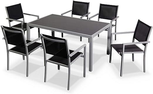 Alices Garden - Comedor de Jardin, Conjunto de Mesa y sillas de Aluminio y textileno - Gris/Negro - 6 plazas - CAPUA: Amazon.es: Jardín