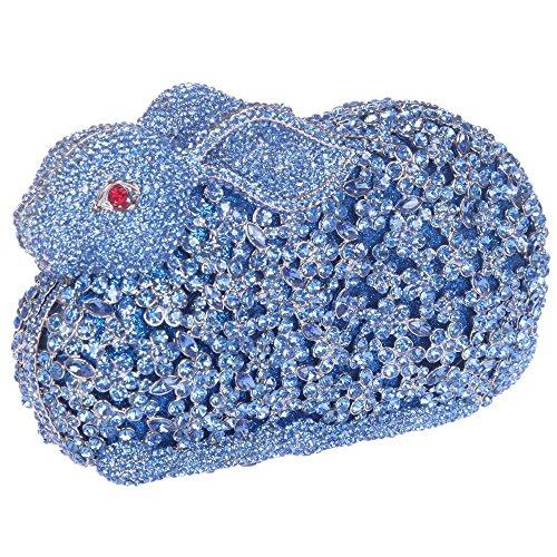 Damen Clutch Abendtasche Handtasche Geldbörse Funkelt Glitzer Kristall Luxus Kanin Tasche mit wechselbare Trageketten von Santimon(8 Kolorit) Blau BAtnA5