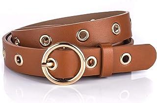 GAOQINGFENG Épingle décontractée en cuir de vachette italien Boucle de ceinture rétro pour femme, ceinture pleine trou, ceinture de jeans.étudiantes et collègues féminines en cadeau d'anniversaire