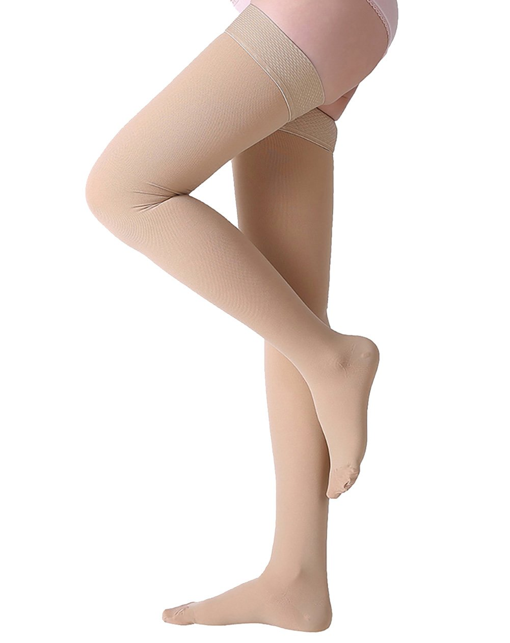 Thigh High Compression Stockings, Closed Toe, Firm Support 20-30 mmHg Gradient Compression Socks with Silicone Band, Opaque, Best for Treatment Swelling, Varicose Veins, Edema, Pregnancy, Beige M by MGANG (Image #1)