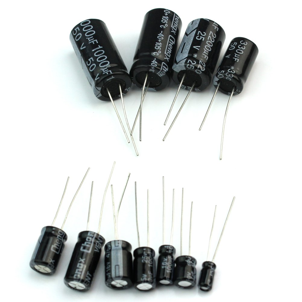 25 Werten 125x Elektrolytkondensatoren Kondensatoren Elko 1uf 470uf 10uf 250v 220uf 1000uf Baumarkt