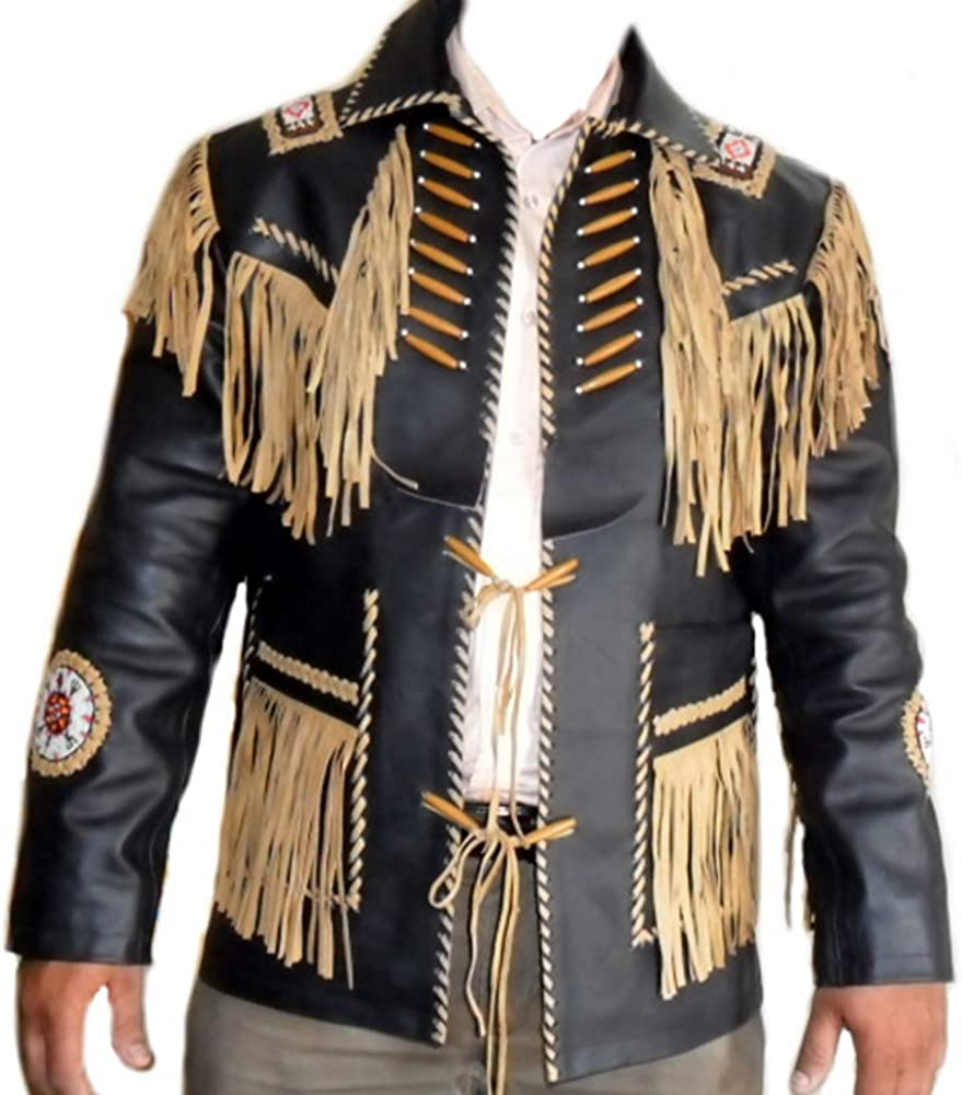 Xs-5xl Classyak Western Cowboy Real Leather Jacket Fringed /& Beaded