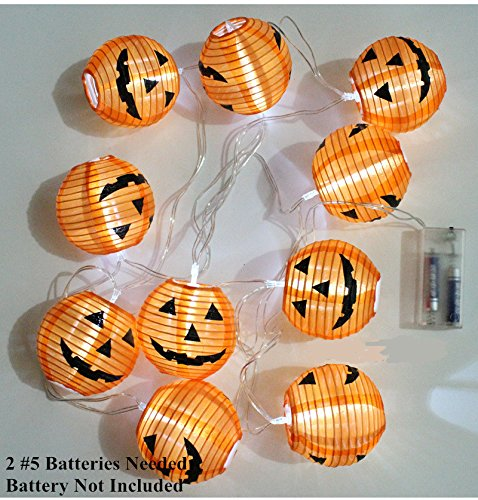 IVYRISE Halloween Party LED Lights, Special Cute Festival Lantern String 10 LED Lights for Halloween Christmas Cosplay Party Decor Sweet Lights, Pumpkin Smile, Bat, Skull and Spider for Choosing ()