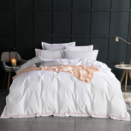 4 piezas Ropa de cama con rayas rosadas y blancas Juegos de cama de calidad hotelera