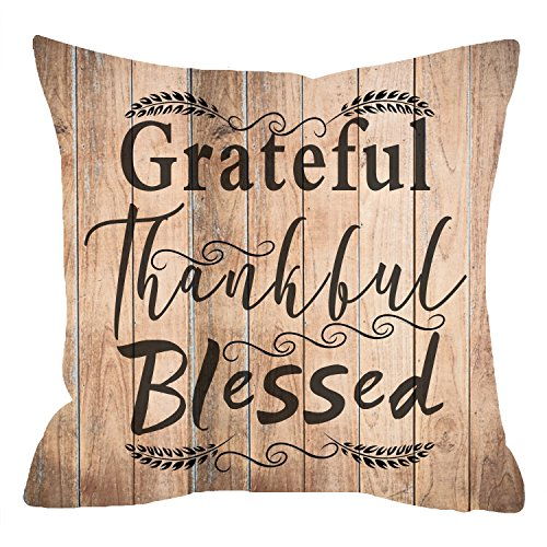 NIDITW Nice Gift Golden Autumn Wheat Greetings Happy Thanksgiving Day Grateful Thankful Blessed Wood Texture Cotton Blend Linen Cushion Cover Pillow Case Cover Home Chair Couch Decor Square 18 Inches