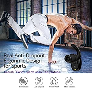 Ture Wireless Earbuds, Parihy Revolutionary Bluetooth4.2 Sports Earpieces,24Hrs,Anti-Dropout Earphones with 900mAh Charging Box,3D Sound Mini Twins Stereo Headphones for Iphone and Android Phones by Parihy