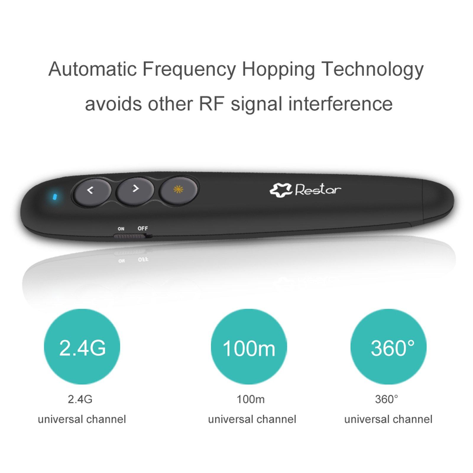 Restar AL0097 RF 2.4GHz Wireless USB PowerPoint PPT Presenter Remote Control Laser Flip Pen (Black) by Restar Laser Pointer (Image #5)